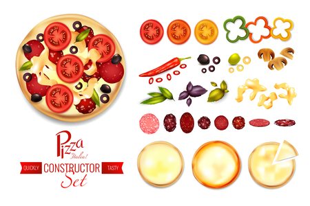 Pizza constructor set with flat isolated images of spices tomato salami and crust slices with text vector illustration