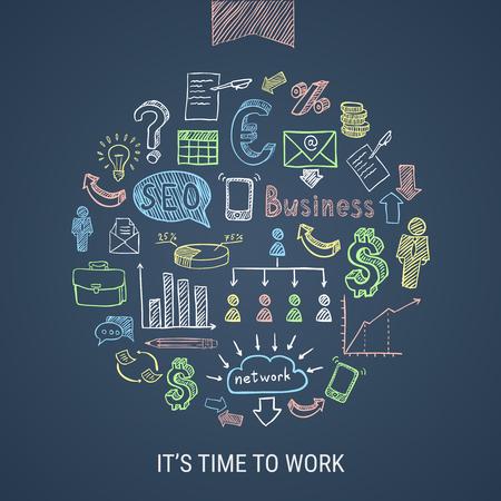 Temps de travailler à la main dessiné des icônes colorées de l'entreprise en forme ronde sur illustration vectorielle fond sombre isolé Banque d'images - 81315681
