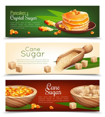 Cane sugar horizontal banners set with pancakes cartoon isolated vector illustration Illustration