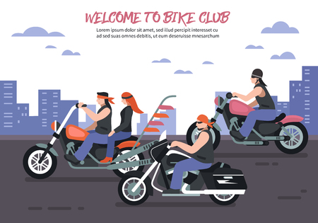Biker club background with men women riding motorbikes in the city flat vector illustration Ilustrace