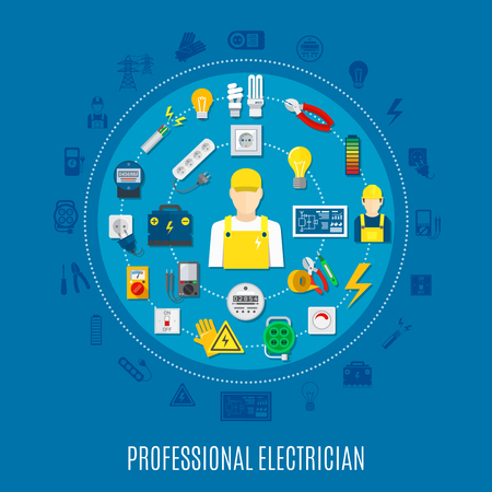 Professional electrician round design with icons of work tools and electric appliances on blue background vector illustration