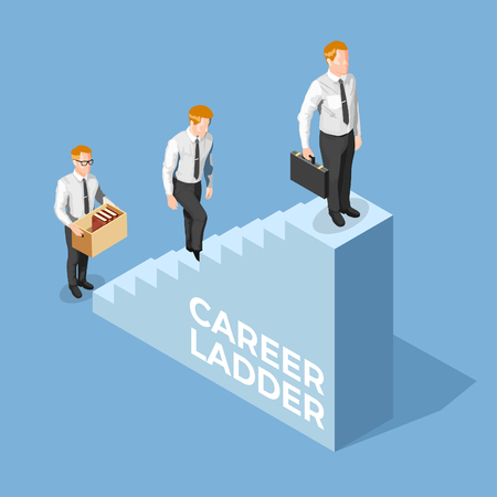 Recruitment concept with male adult climbing career ladder 3d isometric vector illustration Иллюстрация