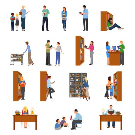 Icônes de bibliothèque avec des gens et des livres plat isolé vector illustration