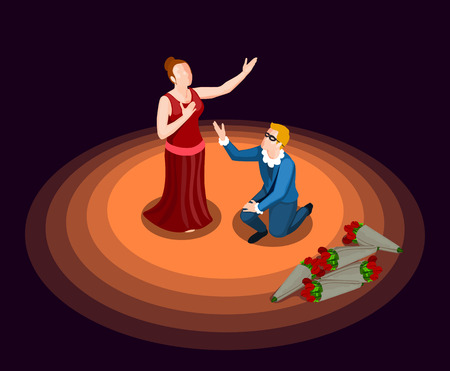 Theatre actor and actress in costumes performing at stage on black background 3d isometric icon vector illustration Illustration