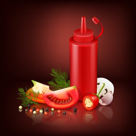 Colorful realistic background with red plastic bottle with ketchup and chopped vegetables vector illustration Illustration