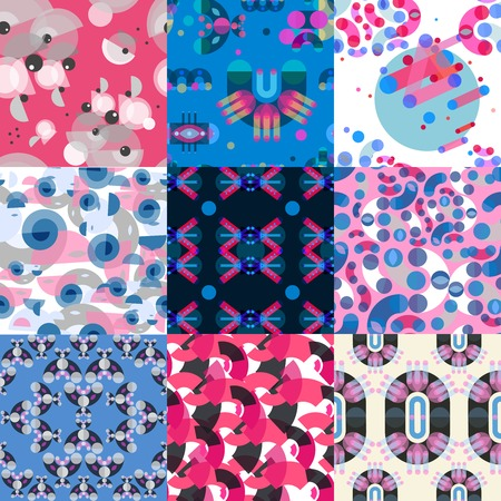 Geometric shapes patterns set of flat colorful square textures with different color shades in memphis style vector illustration