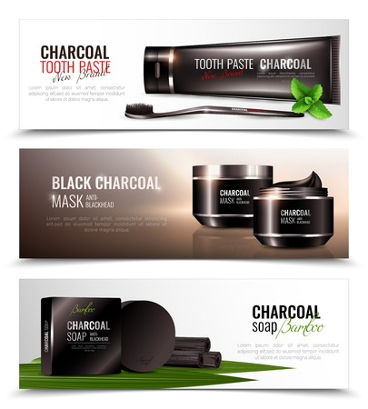 Charcoal cosmetic horizontal banners collection with compositions of charcoal-based beauty products decorative images with text vector illustration
