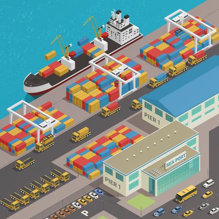 Barcaza de la carga amarrada en el embarcadero del muelle del muelle de puerto que carga con la ilustración isométrica colorida del vector de la composición de los contenedores de cargo