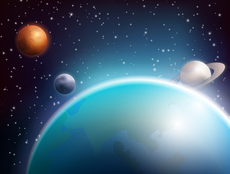 Colored realistic space background with planets in the infinite space of the cosmos vector illustration