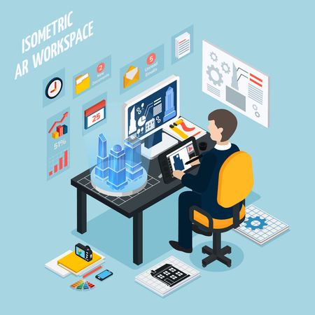 Colored augmented reality workplace isometric composition with man at work and with technology equipment vector illustration Illustration