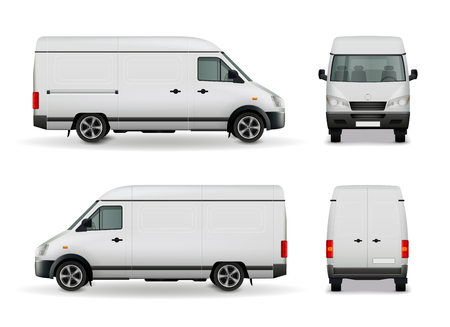 Realistic white cargo van with empty surface advertising mockup side view, front and rear vector illustration Фото со стока - 81316283