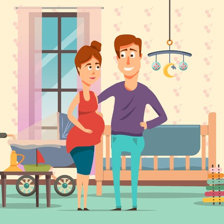 Composición de dibujos animados de embarazo con los futuros padres en la habitación con objetos de bebé, incluyendo cuna, cochecito, juguetes ilustración vectorial Foto de archivo - 81316284