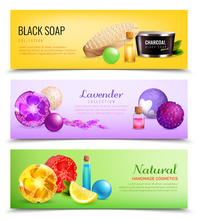 moisturizer: Bath handmade cosmetics horizontal banners set with compositions of soap ball images with leaves and fruit slices vector illustration Illustration