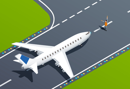 Plane on takeoff strip and airport employee 3d isometric vector illustration