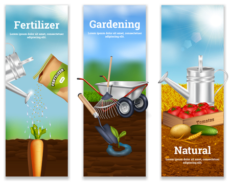 Three farming vertical banners with fertilizer advertising agriculture tools and natural vegetable production in realistic style vector illustration