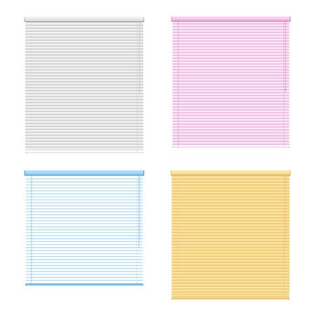 現実的なベクトル イラストの白い背景に分離された 4 色窓ローラー シャッター セット  イラスト・ベクター素材