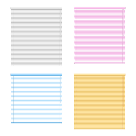 Four colored window roller shutters set isolated on white background in realistic style vector illustration