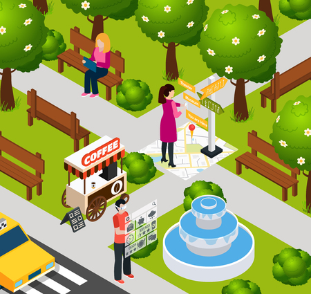 Colored augmented reality park composition digital technology with navigation and internet in smartphone vector illustration