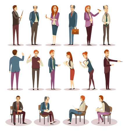 Business trainings and coaching icons set with consultants and learners in various positions isolated vector illustration Illustration