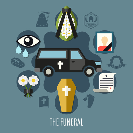 Funeral concept set with photo flowers and tomb flat vector illustration Çizim
