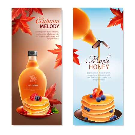 confection: Maple syrup horizontal banners set with autumn melody symbols cartoon isolated vector illustration Illustration