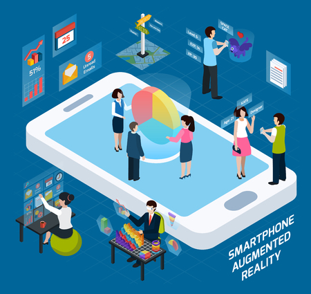 Colored 3d smartphone augmented reality isometric composition with work using a smartphone vector illustration Illustration