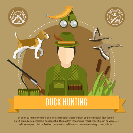 Duck hunting concept with uniform rifle and dog flat vector illustration