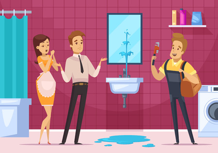 Plumber coming to remove the blockage in pipe and family couple in bathroom interior flat vector illustration Illustration