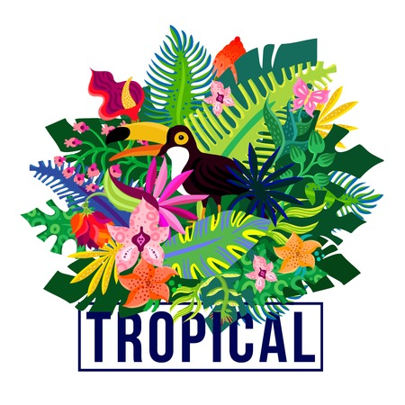 Tropical island flora and fauna colorful composition poster with exotic plants leaves and orchid flowers vector illustration