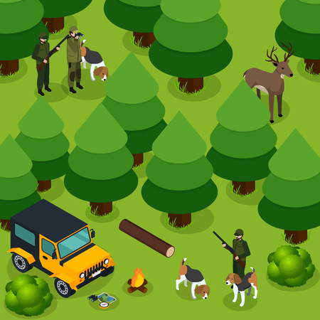 Hunting isometric composition with two groups of hunters hunt deer in the forest vector illustration Illustration