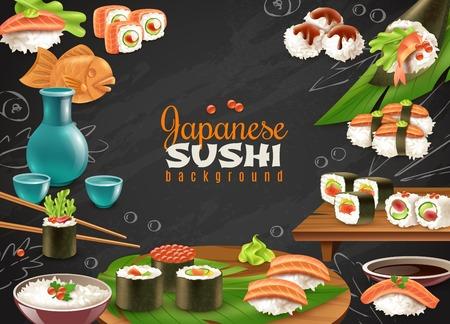 各種寿司真希酒やその他日本料理現実的なベクトル イラストの黒い黒板背景  イラスト・ベクター素材
