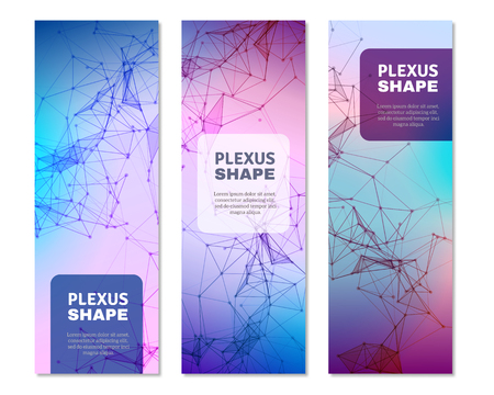 Geometric plexus pattern digital 3d shapes 3 vertical gradient color banners with text blocks isolated vector illustration