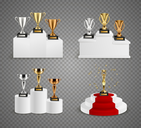 Set of trophies including cups and figurine on pedestals realistic design on transparent background isolated vector illustration