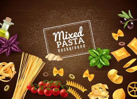 Sfondo marrone realistico con diversi tipi di pasta e vari illustrazione vettoriale di ingredienti extra