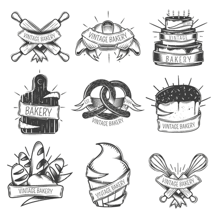 Black isolated vintage bakery icon set with ribbons and place for headlines vector illustration
