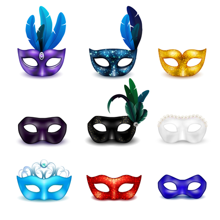 Colored isolated masquerade mask realistic icon set for carnival or theme party vector illustration