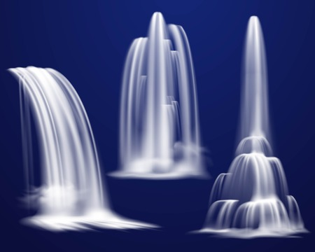 Set of realistic waterfalls of various shape and power on dark blue background isolated vector illustration Vectores