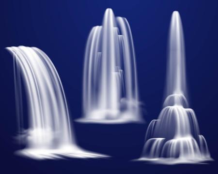 Satz realistische Wasserfälle der verschiedenen Form und der Energie auf dunkelblauem Hintergrund lokalisierte Vektorillustration Vektorgrafik