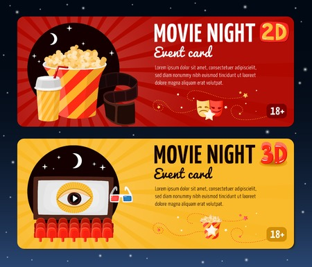 Movie horizontal banners presented cards for night cinema viewing event flat vector illustration
