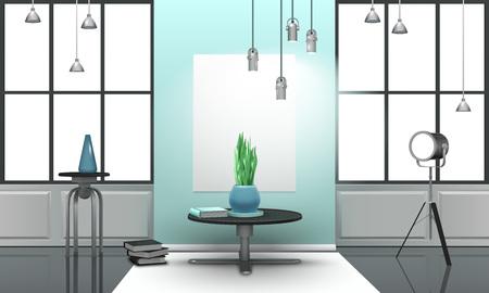 Realistic design loft interior in light tones with metal furniture, large windows with black frames vector illustration