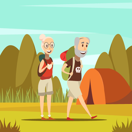 Elderly people background with tent and nature symbols cartoon vector illustration