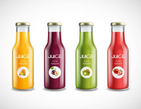 Set of glossy glass bottles with natural fruit juice from orange, plum, kiwi, strawberry isolated vector illustration