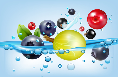 Colorful abstract poster with garden and forest berries swimming in water with bubbles realistic vector illustration