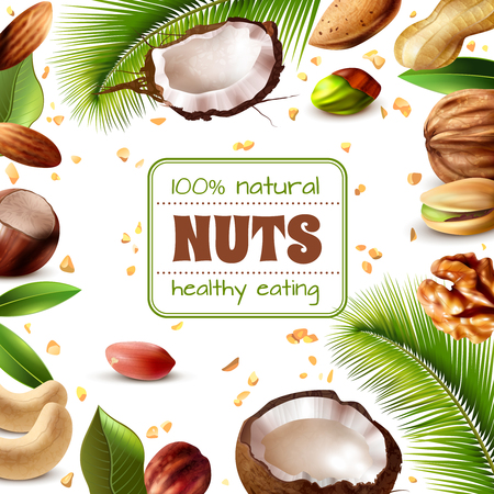 Realistic frame with various kinds of nuts and leaves on white background vector illustration Illusztráció