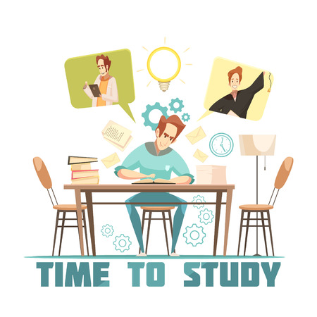 Student sitting at table, reading and thinking above book cartoon design concept on white background vector illustration