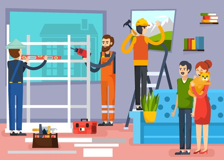 home decorating: Urban home renovation flat composition poster with carpenters construction workers and apartment owners with pet vector illustration
