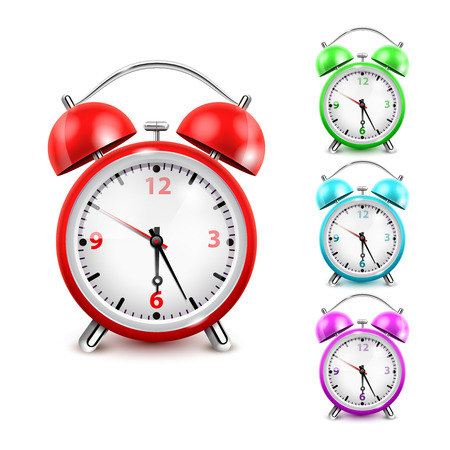 Colored alarm clock icon set the big one and three little on the right side vector illustration Illustration