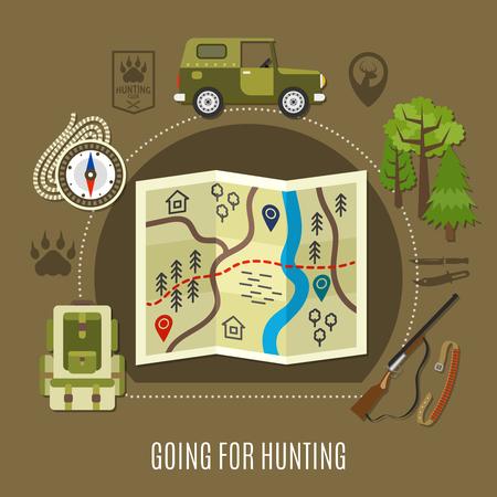 Andando per il concetto di caccia con fucile di auto e mappa illustrazione vettoriale piatta Archivio Fotografico - 81547011