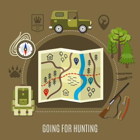 Going for hunting concept with car rifle and map flat vector illustration