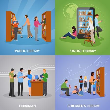 公共およびオンライン ライブラリ シンボル フラット分離ベクトル イラスト ライブラリ概念のアイコンを設定します。
